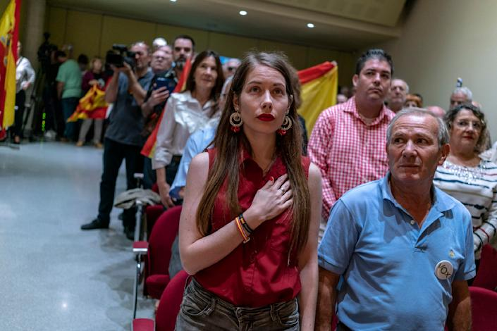 Vox supporters during a recent rally in Barcelona. (Photo: José Colón/MeMo/Sony for Yahoo News)