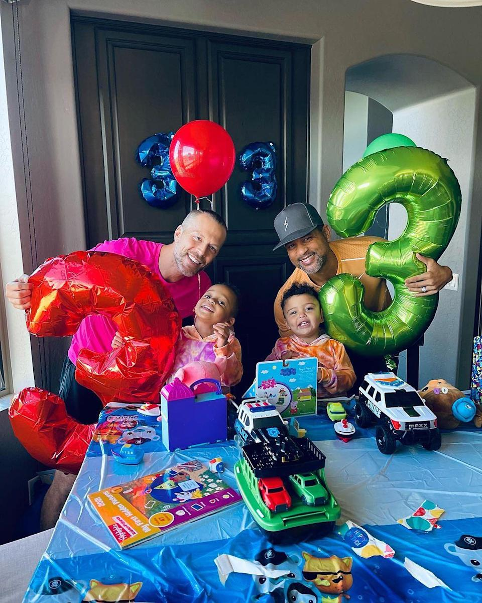 """<p>Shaun T's twin sons <a href=""""https://people.com/parents/shaun-t-welcomes-twin-sons-sander-vaughn-silas-rhys/"""" rel=""""nofollow noopener"""" target=""""_blank"""" data-ylk=""""slk:Sander Vaughn and Silas Rhys"""" class=""""link rapid-noclick-resp"""">Sander Vaughn and Silas Rhys</a> turned 3 on Nov. 17.</p>"""