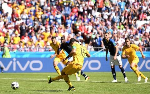 "12:38PM 80 min GOOOOAAAAAAAAL France 2 Australia 1 What a crazy goal. Pogba bursts into the box, and is tackled by the luckless Behich, who inadvertently deflects the ball into his own goal. The ball actually bounces off the bar and into Ryan's hands, but the goal-line technology says goal. 12:34PM 78 min France 1 Australia 1 France make their final change - Mutuidi on for Tolisso. 12:33PM 76 min France 1 Australia 1 Yellow card for Tolisso after cynically chopping down Juric, who was breaking clear for Australia. 12:29PM 73 min France 1 Australia 1 A France corner is cleared to Pavan, who attempts a David Platt-style scissor kick from 25 yards out. Fair to say it doesn't go quite as planned and skews well wide. France vs Australia shots on goal 12:28PM 72 min France 1 Australia 1 Australia respond with a change of their own. Irvine of Hull replaces Rogic of Celtic to freshen up the Australia midfield. This game feels absolutely made for a Giroud winner by the way. 12:26PM 70 min France 1 Australia 1 Deschamps has finally had enough and makes a double change. Surprisingly it's Griezmann coming off for Giroud. Fekir also comes on, replacing Dembele. 12:23PM 67 min France 1 Australia 1 France look rattled by giving away such a monumentally stupid equaliser. Australia by contrast are full of confidence, zipping passes about. They couldn't pull off an almighty upset could they? 12:20PM 64 min France 1 Australia 1 Australia make a change - Juric on for Nabbout. Like for like change up front. 12:18PM 62 min GOAAAAAAAAAAAAAL! France 1 Australia 1 Jedinak cooly sends Lloris the wrong way, and we're level in Kazan! Credit: Getty Images 12:17PM 61 min France 1 Australia 0 It's all happening here! Mooy floats in another dangerous free-kick, which Umtiti punches away with his hand. What was he thinking? It's a penalty for Australia! Credit: AP 12:16PM 59 min France 1 Australia 0 France nearly double their lead straight away, but Griezmann pulls his shot just wide. And you're not going to believe this, but Mark Lawrenson in commentary doesn't agree with the decision and doesn't like VAR! 12:15PM 58 min GOAAAAAAAAAAL! France 1 Australia 0 Griezmann takes a short run-up and buries the penalty into the goalkeeper's left-hand corner. Brilliant penalty. Credit: Getty Images 12:13PM 56 min France 0 Australia 0 The ref gives the penalty after consulting the VAR! That looked very borderline but the correct decision has probably just about been reached. Risdon was last man but it's only a booking as the tackle was not a deliberate foul. The referee Andres Cunha consults the VAR 12:12PM 55 min France 0 Australia 0 Big moment here as Griezmann goes down in the box under Risdon's tackle. France want a penalty but the referee is unsure. He goes to the VAR! 12:10PM 54 min France 0 Australia 0 Oooh, Australia look dangerous but the ball won't drop for Nabbout in the box after some intricate passing down the right. Umtiti eventually hacks clear. Credit: AP 12:07PM 51 min France 0 Australia 0 After the joy of last night, this feels like the resulting hangover. France still really flat, and you feel Deschamps needs to make a change to re-energise the team. 12:05PM 48 min France 0 Australia 0 France playing with a bit more urgency at the start of the half, but still they can't carve open this resolute Aussie defence. 12:02PM 46 min France 0 Australia 0 We're back under way in Kazan. No changes for either side. 11:57AM Work for France to do Not a great half, truth be told. France started brightly but have since faded badly and looked completely bereft of ideas. Australia by contrast look like they know exactly what they're doing, and grew more and more comfortable as the match wore on. You'd expect Deschamps would turn to his bench and bring on one or more of Giroud, Lemar or Fekir if things don't change in the first 15 minutes or so of the second half. France vs Australia shots on goal 11:47AM Half-time: France 0 Australia 0 The half-time whistle blows. Australia manager Bert van Marwijk will be delighted with that; Didier Deschamps not so much. Credit: REUTERS 11:45AM 45+1 min France 0 Australia 0 Now it's Australia's turn to come forward, and Behich has a go from range but it flies high and wide. Just the one minute of time to be added on. 11:44AM 45 min France 0 Australia 0 Trent Sainsbury, who's also been very solid, does brilliantly to nip in and get a toe to the ball to deny Griezmann just inside the Australia penalty area. 11:43AM 43 min France 0 Australia 0 Milligan again does brilliantly to dispossess Dembele. Mooy then mops up and gets the ball clear. And that pretty much sums up the first half. 11:39AM 40 min France 0 Australia 0 Hernandez is down after a meaty challenge from Nabbout near the French corner flag. The Aussies not afraid to stick the boot in this half. 11:37AM 37 min France 0 Australia 0 Mooy gives the ball away to Mbappe but instantly wins it back with a perfectly-timed tackle. Mooy and Jedinak are forming a very effective shield in front of the Aussie back four. Credit: AFP 11:34AM 34 min France 0 Australia 0 France move through the gears and find the left-back Hernandez in space just inside the box. Hernandez whips a cross-shot in low, but Milligan gets another excellent block in. He and his fellow Aussie defenders have been immense so far. 11:31AM 31 min France 0 Australia 0 France very nearly get in behind, but Griezmann can't quite get Pogba's pass under control in the box. Australia survive. 11:28AM 29 min France 0 Australia 0 Australia growing in belief, and they win another free-kick in a dangerous area when Leckie is scythed down by Pogba. Mooy curls this one into the box from out wide on the right, but Lloris comes out and claims. In other news, I don't think I can take another hour of Mark Lawrenson. 11:25AM 26 min France 0 Australia 0 Australia are breaking the game up cleverly with lots of niggly fouls. This time it's the Celtic forward Rogic who pulls down Pavard. Credit: AP 11:22AM 23 min France 0 Australia 0 Australia have taken the sting out of this in the last few minutes. Dembele then gets poleaxed by Sainsbury, but the referee inexplicably says no free-kick. 11:18AM 18 min France 0 Australia 0 Australia so nearly take the lead! Mooy's free-kick from the right is a horror to defend, and Tolisso very nearly turns it into his net. Lloris spares his blushes with an excellent save down to his left. Set pieces are where Australia are going to hurt France today. 11:15AM 15 min France 0 Australia 0 Another clipped ball over the top just evades Mbappe, whose movement is causing Australia real problems. Mbappe will surely make Australia pay sooner or later. 11:14AM 14 min France 0 Australia 0 Leckie is the first player into the book for a late tackle on Hernandez. Griezmann floats an inviting one in from the left-hand side about 40 yards out, which Mooy heads away well. Credit: AFP 11:12AM 12 min France 0 Australia 0 Behich bursts forward for Australia and wins a free-kick from Pavard. Mooy whips it in from the left-hand side but Leckie's header flies way over the bar. Still it's a first effort of the game from Australia. 11:10AM 11 min France 0 Australia 0 Mbappe can't quite latch onto Griezmann's clever flick as France build yet another attack. The Australian fans ironically cheer the team's every pass as they finally get a bit of possession. 11:08AM 9 min France 0 Australia 0 Mbappe's floated free-kick from the left-hand side drifts harmlessly into Ryan's arms. No respite for the Aussies at the moment. Mark Lawrenson is on co-comms incidentally. ""It's like being forced to watch the game with your really annoying out of touch uncle"" says my brother. 11:06AM 7 min France 0 Australia 0 A delightful France move that starts with a gorgeous Mbappe flick ends with a Griezmann sighter from about 20 yards that again is straight down Ryan's throat. France well on top here, bright start. France vs Australia shots on goal 11:04AM 5 min France 0 Australia 0 Pogba takes the free-kick from about 25 yards but it's straight at Ryan, who makes a very comfortable save. 11:04AM 4 min France 0 Australia 0 Australia are sat very deep with everyone but Nabbout behind the ball. Mbappe is playing in the centre forward role for France, and wins a free-kick in a dangerous position after drawing a foul from Milligan with a clever turn. 11:02AM 2 min France 0 Australia 0 Mbappe gets in behind the Australia defence and squeezes in a shot from a tight angle that Ryan beats away. 11:00AM Kick-off We're under way in Kazan. A reminder of the teams for this one: France: Lloris; Pavard, Varane, Umtiti, Hernandez; Kante, Pogba, Tolisso; Griezmann, Mbappe, Dembele. Australia: Ryan; Milligan, Behich, Risdon, Sainsbury; Mooy, Jedinak; Rogic, Leckie, Kruse; Nabbout. Tim Cahill is on the bench for Australia. 10:57AM National anthem France belt out La Marseillaise - is there a fine anthem anywhere in the world? Not for me, Clive. Certainly not Advance Australia Fair, which is good, but nowhere near as epic. (And far less bloodthirsty). 10:51AM Attack vs defence We're expecting Australia - managed by Bert van Marwijk of Holland trying to kick Spain off the park in 2010 fame - to sit in deep and try and catch France on the break. An early France goal would force them out and open up the game nicely. Credit: AP 10:39AM France depth Amazing to think of the players France have on their bench - including Blaise Matuidi, Thomas Lemar and Nabil Fekir. That said the likes of Dimitri Payet, Alexandre Lacazette and Aymeric Laporte couldn't even make the squad. If Didier Deschamps can harness the monumental talent in his squad, they really should be making the semis at least. 10:26AM How to pick a World Cup winner If you haven't already, give this a read - an absolutely comprehensive analysis of how to pick a World Cup winner by sports data journalist Alistair Tweedale. So, will it be France? How to predict a World Cup winner 10:13AM That front three France's strikeforce of Mbappe, Griezmann and Dembele is just absurd. The three behind them of Kante, Pogba and Bayern Munich youngster Tolisso is also pretty formidable. For Australia there are a few familiar faces in the starting XI, including the Brighton goalkeeper Mathew Ryan, Huddersfield midfielder Aaron Mooy and Aston Villa enforcer Mile Jedinak. Excited for this, should be very good. Jim White's view from the press box Credit: Jim White 10:01AM Team news The starting XIs are in, and they are as follows: The teams are in for #FRAAUS �� pic.twitter.com/fnrkT1Iar9— FIFA World Cup �� (@FIFAWorldCup) June 16, 2018 Or in written form: France: Lloris; Pavard, Varane, Umtiti, Hernandez; Kante, Pogba, Tolisso; Griezmann, Mbappe, Dembele. Australia: Ryan; Milligan, Behich, Risdon, Sainsbury; Mooy, Jedinak; Rogic, Leckie, Kruse; Nabbout. 9:36AM Our man in Kazan has this dispatch Jim White writes: Kazan is full of Australia fans desperately looking for somewhere to buy sandpaper. Credit: Jim White 9:22AM The greatest show on earth continues Morning all, Welcome to our coverage of what looks like being a thoroughly enjoyable Group C match between France and Australia. If the match goes to expectations, it'll be a comfortable victory for the French, who on paper at least have one of the strongest squads in the tournament. The impressive Raphael Varane marshalls a solid-looking defence, which is protected by N'Golo Kante, who in turn allows Paul Pogba to bomb forward and join the likes of Antoine Griezmann and Kylian Mbappe up front. Any squad that has no room for Alexandre Lacazette, Kingsley Coman and Aymeric Laporte (to name just three of a host of stars) has to be taken pretty seriously. Australia on the other hand come into the tournament on the back of a pretty turbulent period thatonly saw manager Bert van Marwijk appointed in January after Ange Postecoglu quit at the end of last year. The Socceroos were also not especially impressive in qualifying, and needed extra time to scrape past Syria in the play-off stage. Antoine Griezmann is expected to be one of the stars of the World Cup Credit: Getty Images Their squad is not at the level of years gone by when the likes of Harry Kewell and Mark Viduka were to the fore, though there is a familiar face in the squad in the shape of the evergreen Tim Cahill. Now 38, Cahill is the only 'unattached' player at the World Cup having been being released by Championship side Millwall in May. Amazingly, after netting at the last three World Cups, he could become just the fifth player ever to score at four separate finals if he nets in Russia over the next few weeks. The other four if you're interested are the German pair Miroslav Klose and Uwe Seeler, a certain Brazilian named Pele, and after last night's heroics Cristiano Ronaldo. Anyway, back to today's match. France will be keen to build some early momentum ahead of stiffer-looking tests against Denmark and Peru. Personally I would be very surprised if they didn't get the three points today - I'm going for a 3-0 France win."