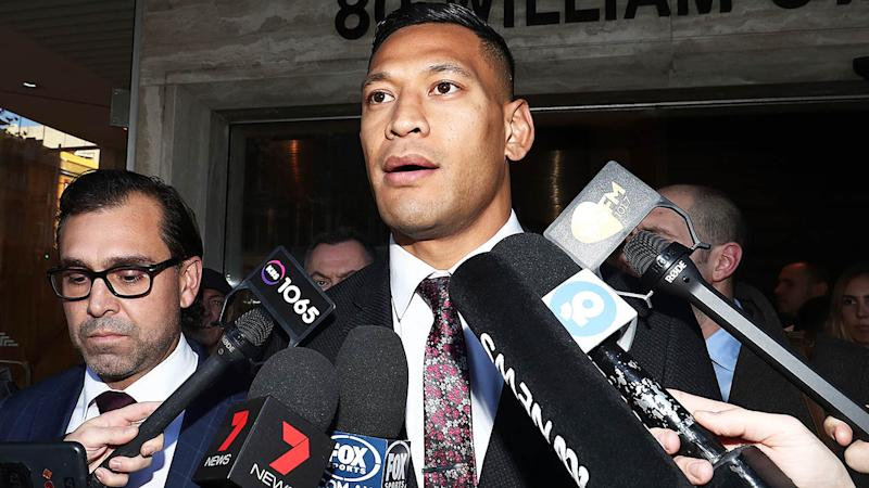 Israel Folau speaks to media following his Fair Work Commission meeting with Rugby Australia. (Photo by Mark Metcalfe/Getty Images)