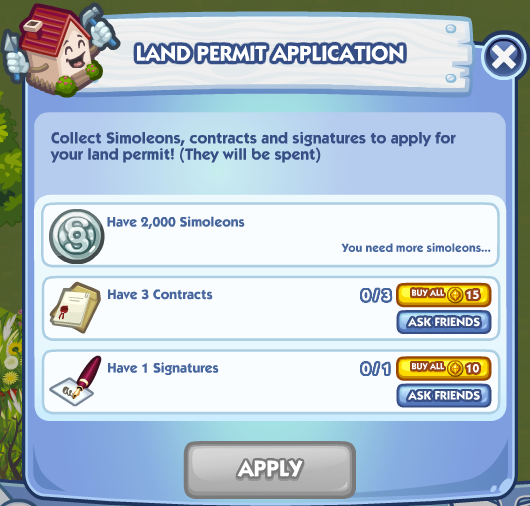 The Sims Social Land Permit Application