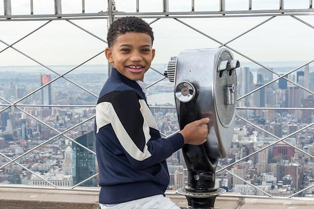 <p>The actor who plays Young Randall on <em>This Is Us</em> reached new heights in NYC on Wednesday, checking out the view from the top of the Empire State Building. (Photo: Mark Sagliocco/Getty Images) </p>