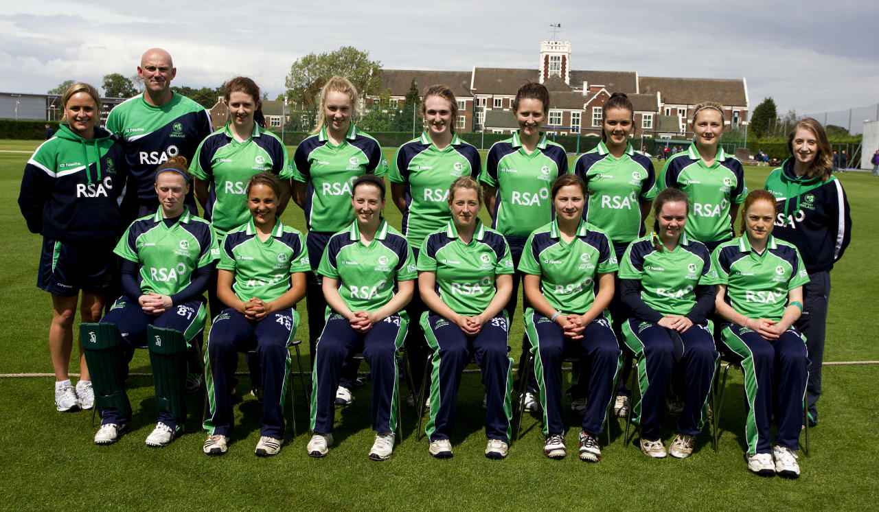 LOUGHBOROUGH, ENGLAND - JUNE 23: The Ireland team pose for a team photo prior to the NatWest International T20 match between England and Ireland at Loughborough University on June 23, 2012 in Loughbrough, England. (Photo by Ben Hoskins/Getty Images)