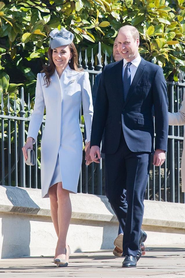 "<p>Then came Prince William and the Duchess of Cambridge. Kate wore<a href=""https://www.townandcountrymag.com/society/tradition/a27149705/kate-middleton-easter-2019-blue-dress-photos/"" target=""_blank""> an appropriate pastel coatdress</a> for this morning's Easter services. </p>"