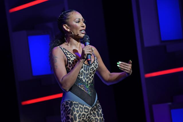 "Mel B speaks on stage during ""A Brutally Honest Evening With Mel B"" in support of Women's Aid at The Savoy Theatre on September 1, 2019 in London, England. (Photo by David M. Benett/Dave Benett/Getty Images)"