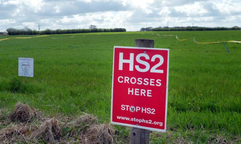 Protest signs over HS2