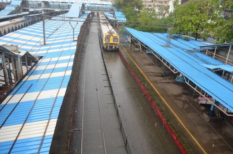 A general view of the flooded railway tracks in Mumbai on August 4, 2020. (Photo by Arun Patil)