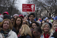 """FILE - In this Jan. 24, 2020, file photo, supporters listen as President Donald Trump speaks during the annual """"March for Life"""" rally on the National Mall in Washington. Anti-abortion leaders across America were elated a year ago when Donald Trump became the first sitting U.S. president to appear in person at their highest-profile annual event, the March for Life held every January. The mood is more sober now — a mix of disappointment over Trump's defeat and hope that his legacy of judicial appointments will lead to future court victories limiting abortion rights. (AP Photo/ Evan Vucci, File)"""