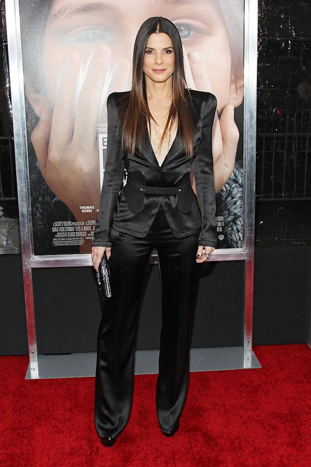 """<a href=""""http://movies.yahoo.com/movie/contributor/1800018970"""">Sandra Bullock</a> at the New York City premiere of <a href=""""http://movies.yahoo.com/movie/1810196550/info"""">Extremely Loud and Incredibly Close</a> on December 15, 2011."""