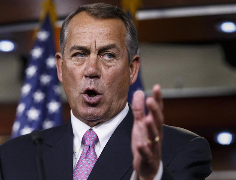 FILE - This March 26, 2014 file photo shows House Speaker John Boehner of Ohio speaking during a news conference on Capitol Hill in Washington. Capping a three-month struggle, the Senate closed in Monday on passage of election-year legislation to restore jobless benefits for the long-term unemployed that expired late last year. Approval would send the legislation to a hostile reception in the House, where majority Republicans generally oppose it. (AP Photo/J. Scott Applewhite, File)
