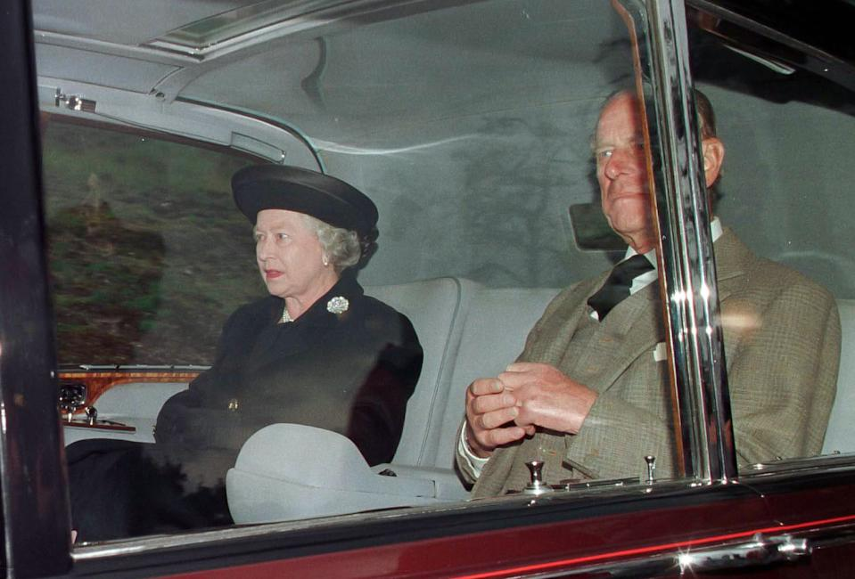 BALMORAL,  SCOTLAND - AUGUST 31:   Queen Elizabeth II and Prince Phillip, The Duke of Edinburgh  attend Crathie Kirk Church, near Balmoral Estate, Scotland, 31st Aug 1997,  the morning after the death of Diana, Princess of Wales in Paris. on August 31 1997, in Balmoral, Scotland. (Photo by Julian Parker/UK Press via Getty Images)