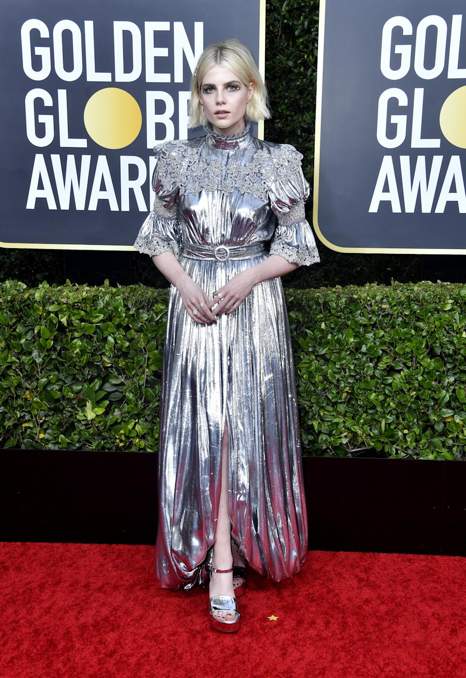 "<h1 class=""title"">Lucy Boynton in Louis Vuitton</h1><cite class=""credit"">Photo: Getty Images</cite>"