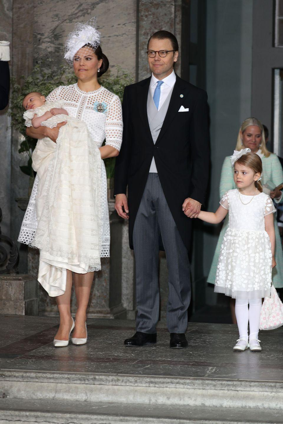 <p>For her son Oscar's baptism, she chose a white broderie anglaise dress and matching hat and shoes. She's active in children's charities in Sweden, including her own, the Crown Princess Victoria Fund, which puts money toward recreational activities for children with chronic illness.</p>