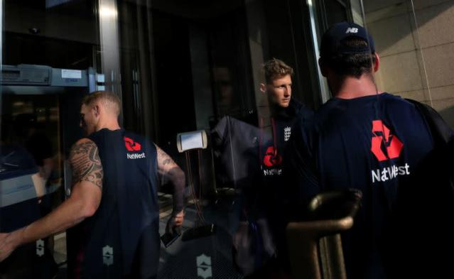 England cricket team arrives at the hotel after England's two test matches against Sri Lanka under the ICC World Test Championship have been postponed due to fears over the coronavirus, in Colombo