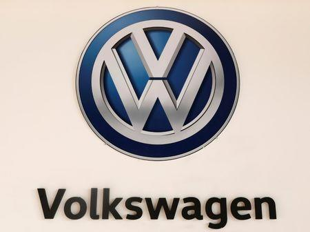 FILE PHOTO: A Volkswagen logo is pictured at the International Auto Show in Mexico City