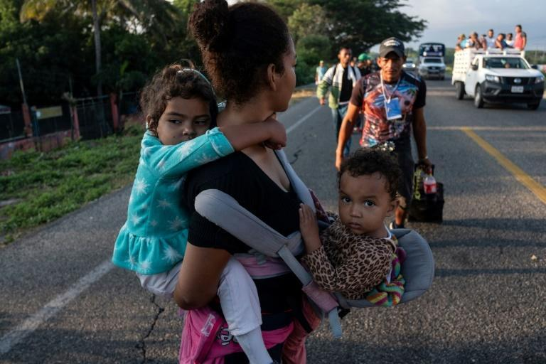 Migrants - mostly Hondurans - are seen in Mexico heading in a caravan to the US in November 2018