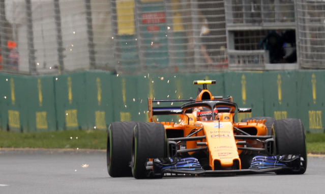 McLaren driver Stoffel Vandoorne of Belgium has sparks fly from the back of his car during the practice session at the Australian Formula One Grand Prix in Melbourne, Saturday, March 24, 2018. The first race of the 2018 seasons is on Sunday. (AP Photo/Asanka Brendon Ratnayake)