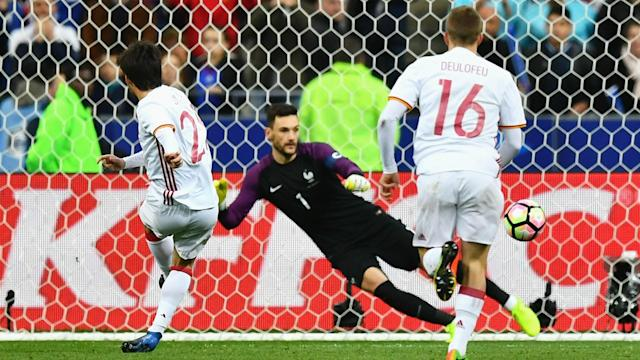 Video technology was twice used to good effect as Spain defeated France 2-0 in a friendly match in Saint-Denis.