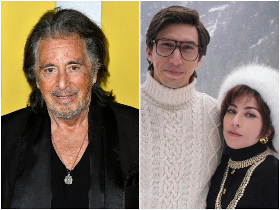 Al Pacino in 2020, and Adam Driver and Lady Gaga in House of Gucci (Frazer Harrison/Getty/MGM)