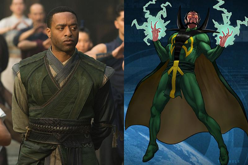 Chiwtel Ejiofor as Mordo, and how he's portrayed in the Marvel Comics - Credit: Disney/Marvel