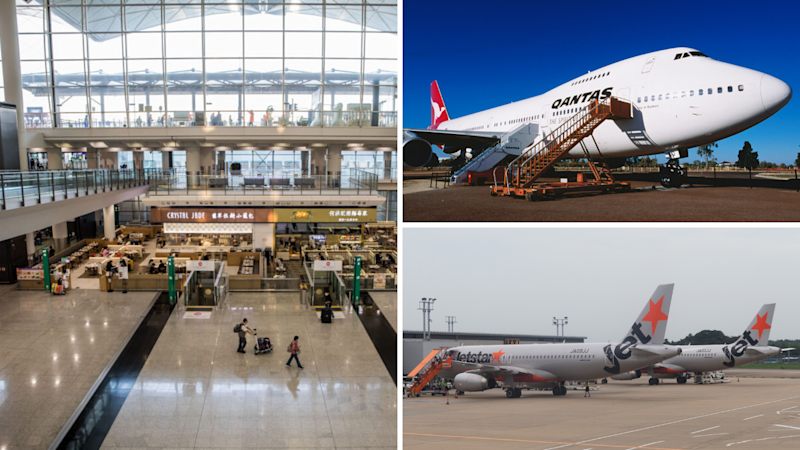 Left: The normally bustling Hong Kong Airport is dear-deserted. Right: Qantas/Jetstar (Source: Getty)