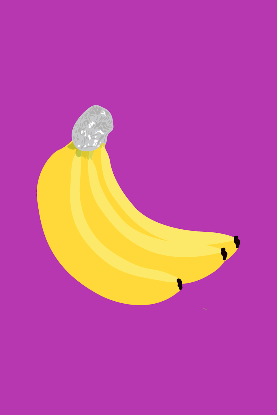 """<strong>6. Tin Foil = Banana Preserver </strong><br><br>One day you have a bunch of perfectly yellow bananas; the next thing you know, you're contending with brown freckles and mushy spots. If your bananas ripen more quickly than you can eat them, there's a hack for that. Wrap the stems of the bananas in aluminum foil to help them last up to five days longer. Fresh out of tin foil? Plastic wrap is a totally viable alternative. <span class=""""copyright"""">Illustrated by Isabel Castillo.</span>"""