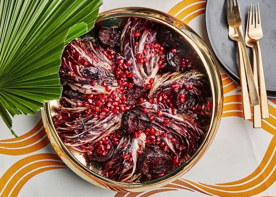 "Roasting beets over high heat yields charred skin—a nice balance with the sweet flesh. This is a part of Angela Dimayuga's Filipino-American Christmas menu. You can find <a href=""https://www.bonappetit.com/occasion/angela-dimayuga-christmas?mbid=synd_yahoo_rss"" rel=""nofollow noopener"" target=""_blank"" data-ylk=""slk:all of the recipes here."" class=""link rapid-noclick-resp"">all of the recipes here.</a> <a href=""https://www.bonappetit.com/recipe/seared-radicchio-and-roasted-beets?mbid=synd_yahoo_rss"" rel=""nofollow noopener"" target=""_blank"" data-ylk=""slk:See recipe."" class=""link rapid-noclick-resp"">See recipe.</a>"