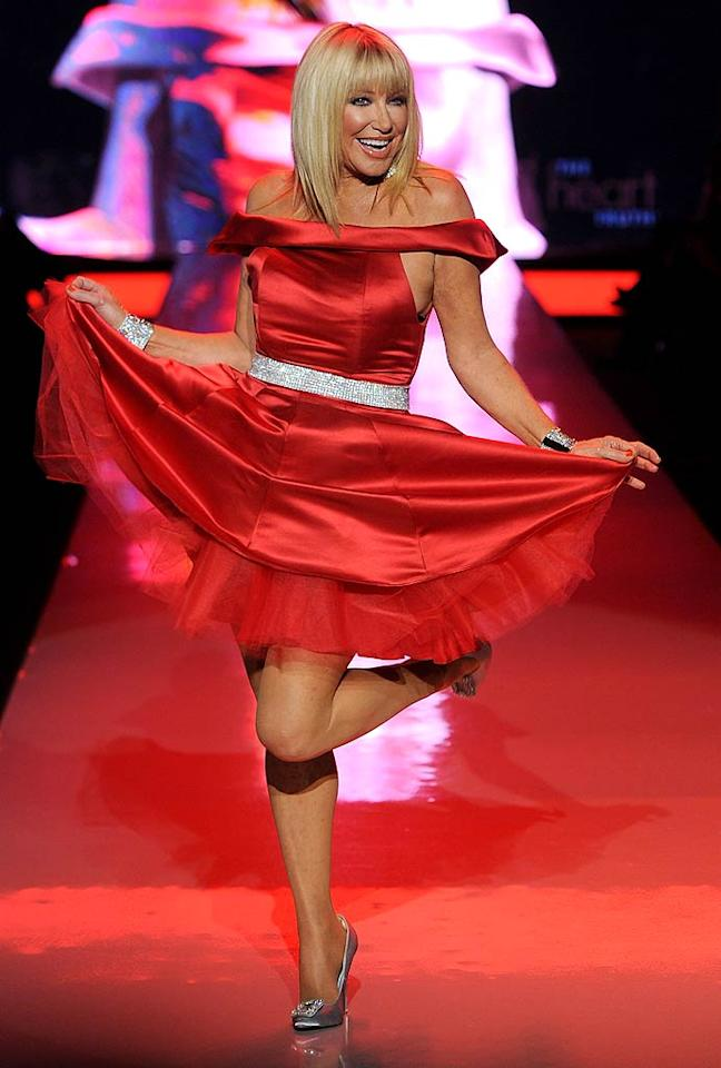 "Actress-turned-author Suzanne Somers popped a cute curtsy in an Ina Soltani creation. Frazer Harrison/<a href=""http://www.gettyimages.com/"" target=""new"">GettyImages.com</a> - February 9, 2011"