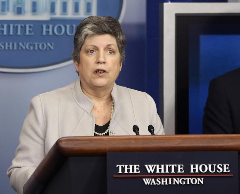 FILE - In this Feb. 25, 2103 file photo, Homeland Security Secretary Janet Napolitano briefs reporters  at the White House in Washington. The Homeland Security Department released more than 2,000 illegal immigrants facing deportation from immigration jails in recent weeks due to looming budget cuts and planned to release 3,000 more during March, The Associated Press has learned. (AP Photo/Charles Dharapak, File)