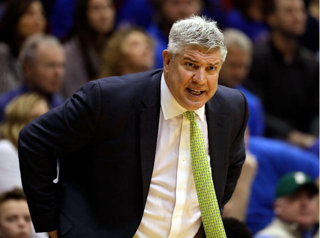 "Siena coach Jimmy Patsos is reportedly under an internal investigation after he ""taunted and verbally abused"" a student manager who has a mental disorder. (Photo by Jamie Squire/Getty Images)"