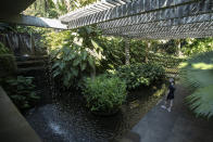 A visitor walks in the garden during a guided tour of Roberto Burle Marx's former home, which was elected today as a World Heritage Site by the United Nations Educational, Scientific and Cultural Organization, UNESCO, in Rio de Janeiro, Brazil, Tuesday, July 27, 2021. The site features more than 3,500 species of plants native to Rio and is considered a laboratory for botanical and landscape experimentation. (AP Photo/Bruna Prado)