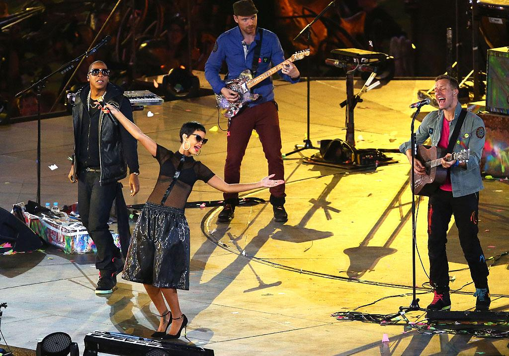Spectators of the Paralympic Games in London on Sunday got quite the treat when Jay-Z and Rihanna teamed up with Will Champion and Chris Martin of Coldplay during the closing ceremonies. (9/9/2012)