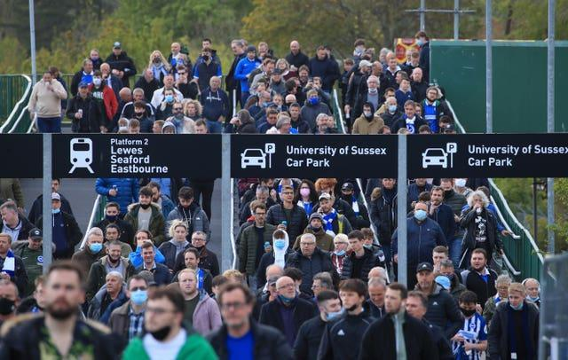 Brighton fans made their way to the Amex Stadium, where a limit of 7,900 was set for the visit of Manchester City