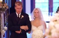 """<p>The sweetheart strapless lace gown she wore for her first wedding to Nick Lachey, in 2002, was immortalized in <a href=""""https://people.com/tv/jessica-simpson-doesnt-regret-newlyweds-ex-nick-lachey/"""" rel=""""nofollow noopener"""" target=""""_blank"""" data-ylk=""""slk:the opening credits of"""" class=""""link rapid-noclick-resp"""">the opening credits of </a><em><a href=""""https://people.com/tv/jessica-simpson-doesnt-regret-newlyweds-ex-nick-lachey/"""" rel=""""nofollow noopener"""" target=""""_blank"""" data-ylk=""""slk:Newlyweds"""" class=""""link rapid-noclick-resp"""">Newlyweds</a>, </em>the MTV show that chronicled their marriage. (They split in 2005; <a href=""""https://people.com/celebrity/jessica-simpson-marries-eric-johnson-inside-her-wedding-ceremony/"""" rel=""""nofollow noopener"""" target=""""_blank"""" data-ylk=""""slk:she wed Eric Johnson in 2014"""" class=""""link rapid-noclick-resp"""">she wed Eric Johnson in 2014</a> and they have three children together.)</p>"""