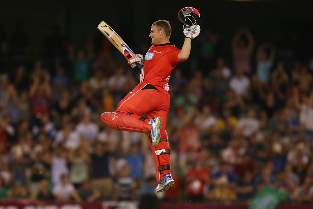 MELBOURNE, AUSTRALIA - DECEMBER 07:  Aaron Finch of the Renegades celebrates as he reaches his century during the Big Bash League match between the Melbourne Renegades and the Melbourne Stars at Etihad Stadium on December 7, 2012 in Melbourne, Australia.  (Photo by Scott Barbour/Getty Images)