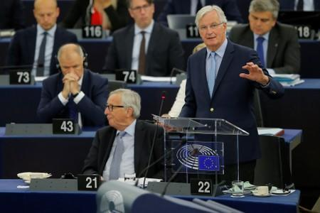 European Union's chief Brexit negotiator Michel Barnier addresses the European Parliament during a debate on Brexit in Strasbourg