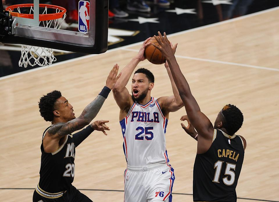 After he averaged just 11.9 points and shot just 34.2% from the free-throw line in the first-round playoff loss to Atlanta, the 76ers reportedly are looking to trade Ben Simmons (25).