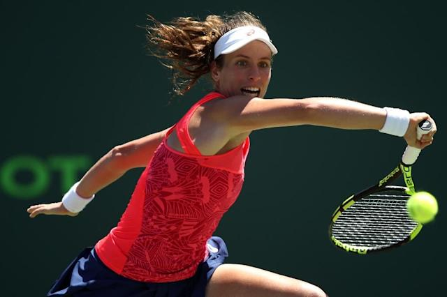 Johanna Konta of Britain, seen in action against Simona Halep of Romania during their Miami Open quarter-final match, on March 29, 2017 (AFP Photo/Julian Finney)