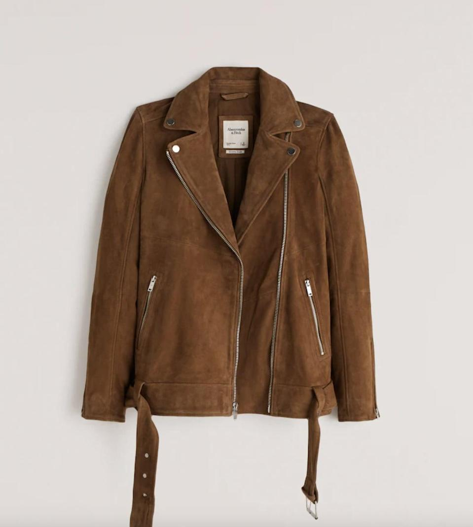 <p>You'll look polished in this <span>Abercrombie &amp; Fitch Genuine Suede Biker Jacket</span> ($420). Wear it with a leather skirt or sleek black jeans.</p>