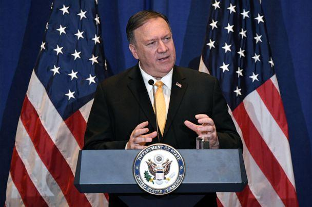 PHOTO: Secretary of State Mike Pompeo speaks during a press conference at the Palace Hotel on the sidelines of the 74th session of the United Nations General Assembly in New York, Sept. 26, 2019.  (Darren Ornitz/Reuters)
