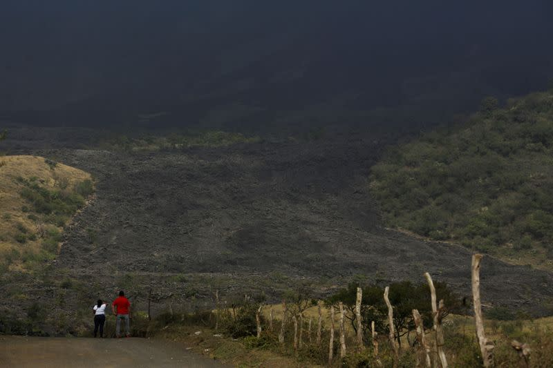 A general view shows an area covered wit ash from an eruption of the Pacaya volcano in El Rodeo