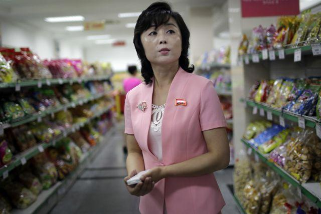 A snack aisle in a NK shop