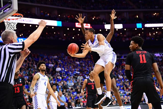 <p>Keldon Johnson #3 of the Kentucky Wildcats tries for a layup against the Houston Cougars in the third round of the 2019 NCAA Men's Basketball Tournament held at Sprint Center on March 29, 2019 in Kansas City, Missouri. (Photo by Ben Solomon/NCAA Photos via Getty Images) </p>