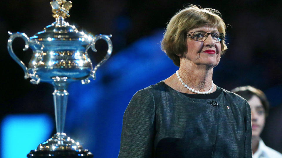 Margaret Court at the Australian Open ready to award the trophy.