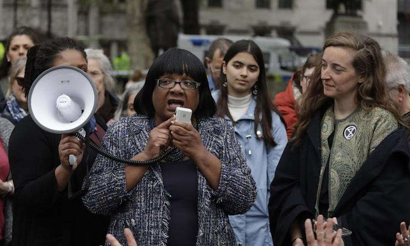 Diane Abbott addressing climate change protesters.