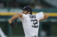 Detroit Tigers starting pitcher Michael Fulmer throws during the team's baseball game against the Kansas City Royals, Monday, July 27, 2020, in Detroit. (AP Photo/Carlos Osorio)