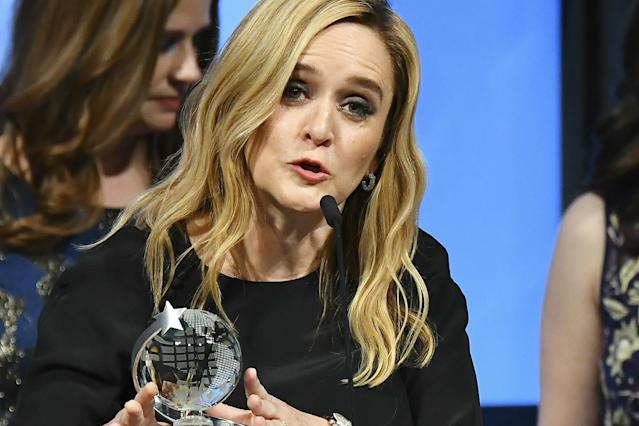 Samantha Bee accepts an award at the Television Academy Honors on Thursday in Los Angeles. (Photo: Dan Steinberg/Invision for the Television Academy/AP)