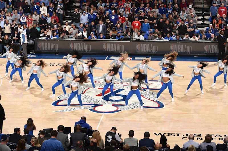 The Sixers Dancers perform in Game Two of Round One between the Brooklyn Nets and the Philadelphia 76ers during the 2019 NBA Playoffs on April 15, 2019 at the Wells Fargo Center in Philadelphia, Pennsylvania.   David Dow—NBAE via Getty Images