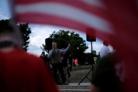 """Nathan Damigo speaks to self-proclaimed White Nationalists and members of the """"Alt-Right"""" gathered for what they called a """"Freedom of Speech"""" rally at the Lincoln Memorial in Washington, U.S. June 25, 2017. REUTERS/James Lawler Duggan"""