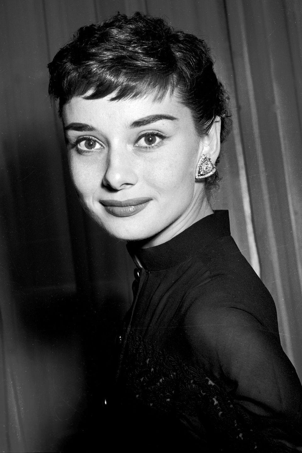 <p>Actress Audrey Hepburn, the queen of the pixie, proves short bangs for even shorter hair is always a good idea. </p>